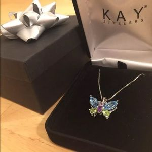 Kay jeweler color stone butterfly necklace silver